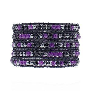 Black Purple Crystal Wrap Bracelet
