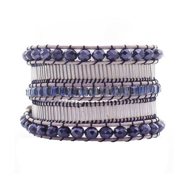 Blue Crystal Glass Tube Wrap Bracelet