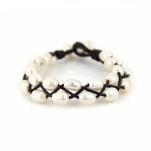 Double Wrap Weave Pearl Bracelet