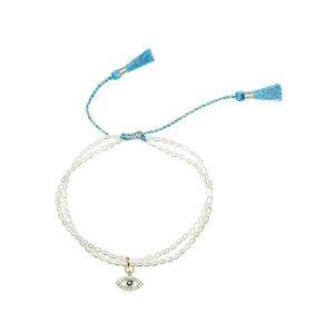 Evil Eye Charm Pearl Bracelet