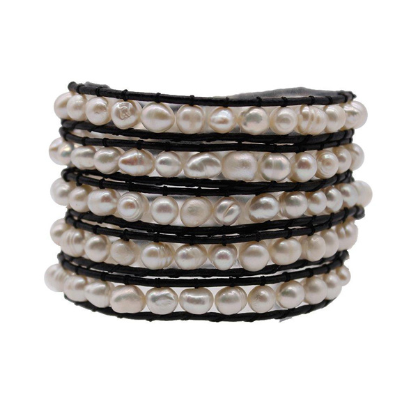 Freshwater Pearl Handmade 5 Wrap Bracelet
