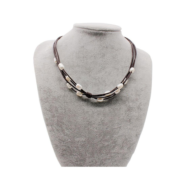 Freshwater Pearl Leather Cord Necklace