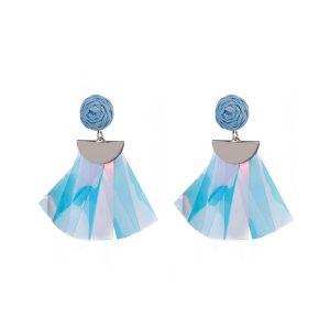 Raffia Plastic Pieces Tassel Earring