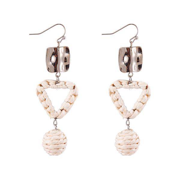 Handmade Raffia Alloy Drop Earring