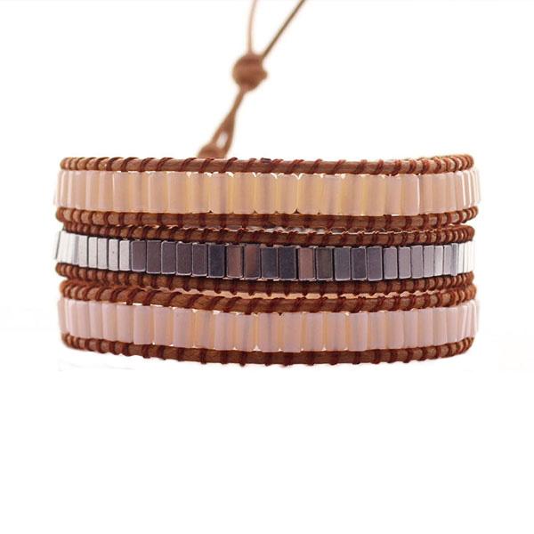 Hematite Crystal Tube Wrap Bracelet
