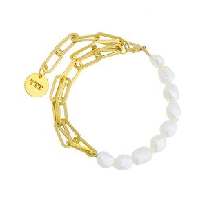 Chain Link Fresh Water Pearl Bracelet