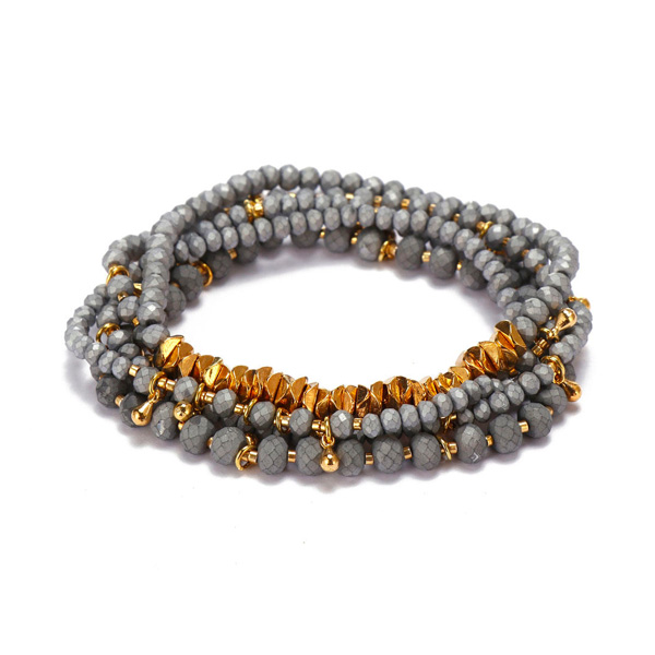 4mm-&-2mm-Grey-Crystal-Gold-Alloy-Beads-Mutilayer-Bracelet