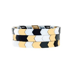 Aristocratic Black Golden Enamel Bracelet