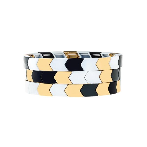 Aristocratic Black Golden Enamel Bracelet