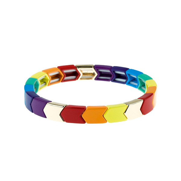 Arrow-Shaped Rainbow Tila Enamel Bracelet