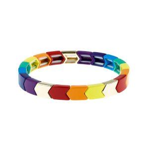 Arrow-Shaped Rainbow Tila Enamel Bracelet