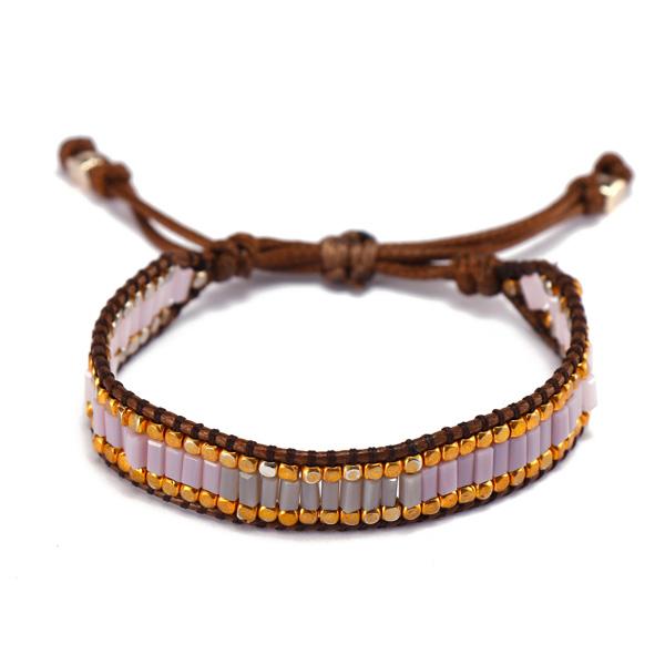 Handmade Crystal Beads Wax Cord Bracelet