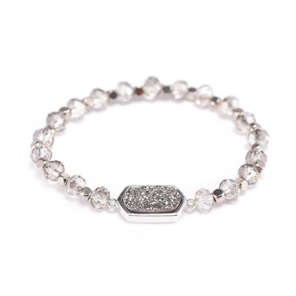 Crystal Beads Bracelet With Druzy Charms