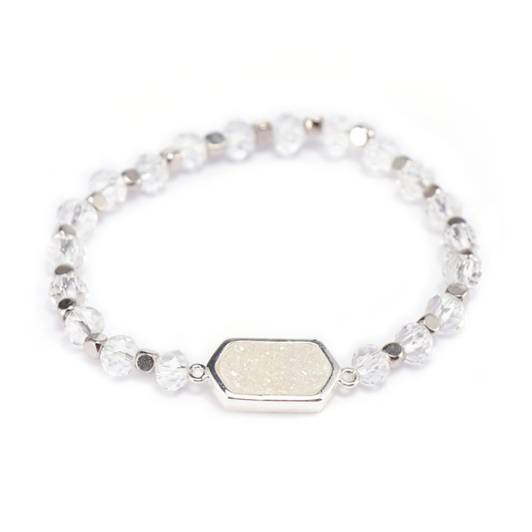 Crystal Beads Bracelet With Druzy Charms