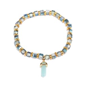 Crystal Beads Bracelet With Stone Charms