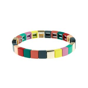 Colorful Square Tile Enamel Bracelet