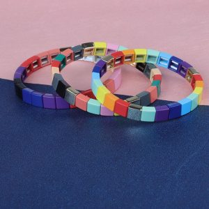 Colorful Square Tile Enamel Bracelet