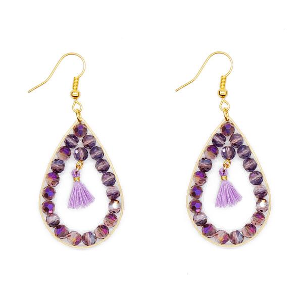 Crystal Beads Copper Hoop Earring