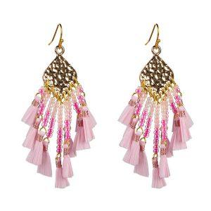 Miyuki Seed Bead Cluster Raffia Earrings