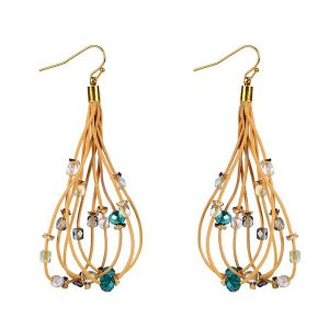 Leather Rope Crystal Earrings
