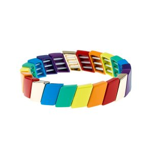 Parallelogram Colorful Enamel Bracelet