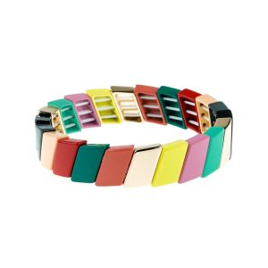 Parallelogram Colorful Enamel Bracelet