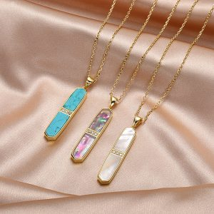Amethyst Vertical Bar Pendant Necklace
