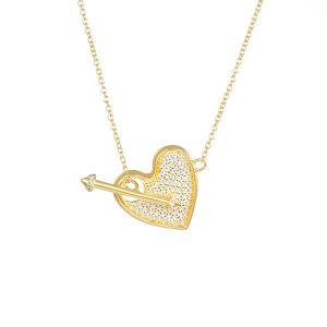 Sterling Silver Cubic Zirconia Heart Arrow Necklace